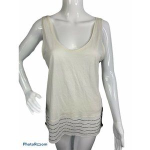 J.Crew Womens M Striped Gold Beaded Blouse Tank